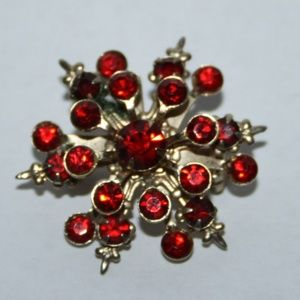 Beautiful gold and red rhinestone flower brooch